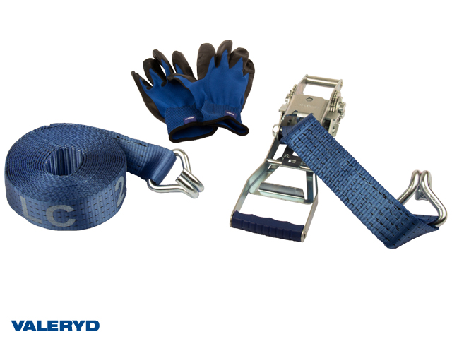 Spännbandsset 50mm med dubbla J-krokar, långt handtag. Längd 0,5+7,5m. 2500 kg (daN)