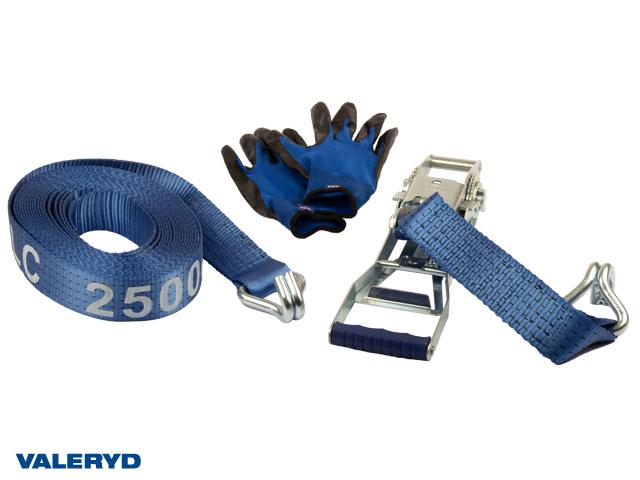 Spännbandsset 50mm med dubbla J-krokar, långt handtag. Längd 0,5+9,5m. 2500 kg (daN)