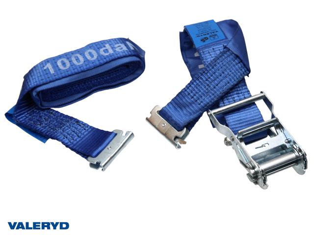 Spännband för E-lastlåsskena 50mm med E-krok. Längd 1+3m. 1000 kg (daN)