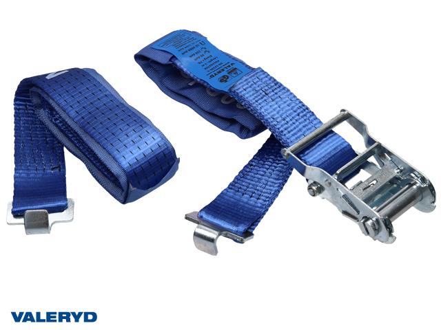 Spännband för lastlåsskena 50mm med platt krok. Längd 1+3m. 1000 kg (daN)