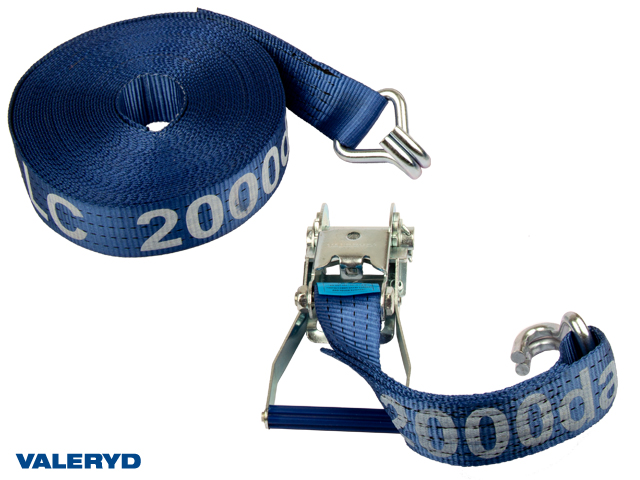 Spännbandsset 50mm med dubbla J-krokar. Längd 0,5+16,5m. 2000 kg (daN)