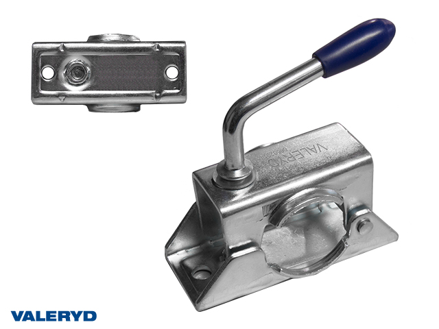 Stödhjulsklämma Ø48mm. Standard med kort vev. Plåt. CC=105mm