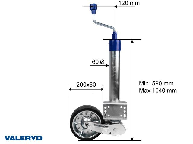 Auto fold jockey wheel Ø60 mm, metal rim. Solid rubber wheel 200x60 mm. Sup. load 500kg U-brckt