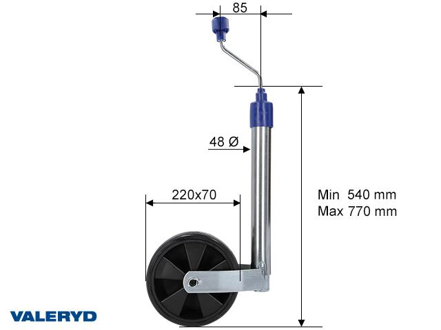 Jockey wheel Ø48 mm Plastic rim. Solid rubber wheel 220x70mm mm. Support load 150kg