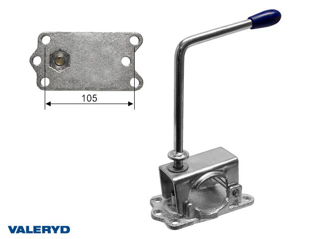Stödhjulsklämma Ø48mm Plåt/Gjutjärn. Långt vred cc=105