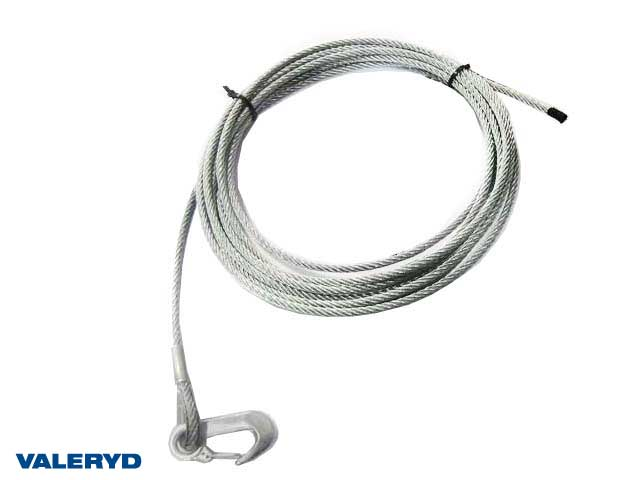 Winch wire with hook, 5 mm - Length 8 m